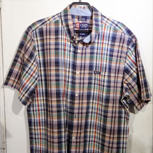 Chaps Checkered Casual Button Down Short Sleeve